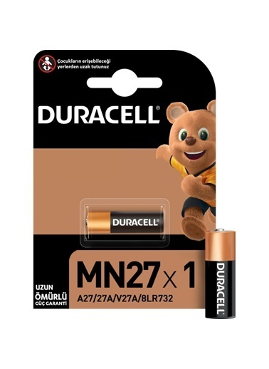Duracell Duracell Dayanıklı 1'Li Paket (A27/27A/V27A/8Lr732) Özel Alkalin 12V Min 27 Pil Renkli